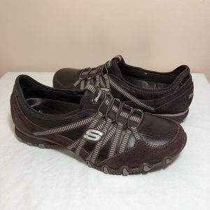 Shoes - Skechers toffee brown slip on walking shoes size 7